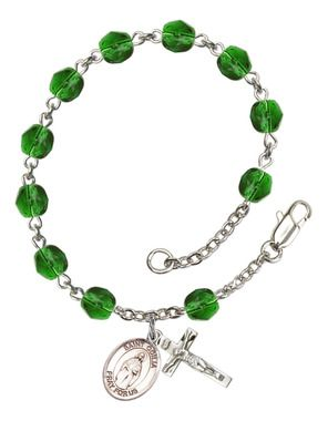 St. Odilia Silver-Plated Rosary Bracelet with 6mm Emerald Fire Polished beads
