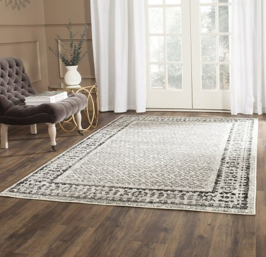 Safavieh Adirondack Collection ADR110B Ivory and Silver Square Area Rug, 6 feet Square (6' Square)