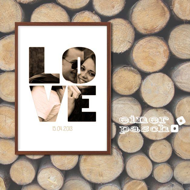 LOVE Print mit Foto zum Valentinstag, Geburtstag, Jahrestag oder Hochzeitstag
