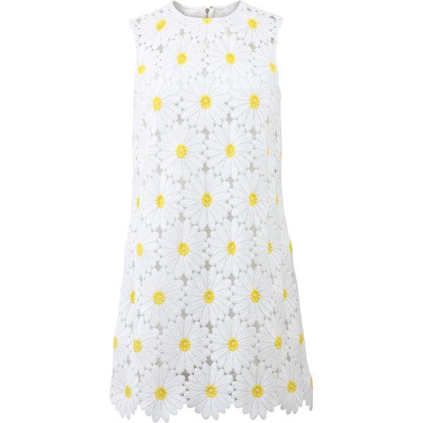 Dolce & Gabbana  Daisy Macrame Shift Dress found on Polyvore featuring dresses, white dress, white crochet dress, white slip, shift dress and cami slip dress