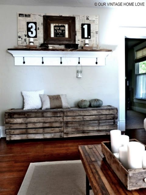 Rustic Pallet Bench. DIY furniture, repurpose, reuse, recycle, upcycle, home furnishings, interior design, home decor, home accent pieces. Hundreds of pallet ideas, DIY tutorials, and inspiration at http://pinterest.com/wineinajug/passion-for-pallets/