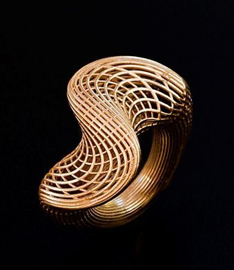Twisted Ring, 14K gold, by Hella Ganor