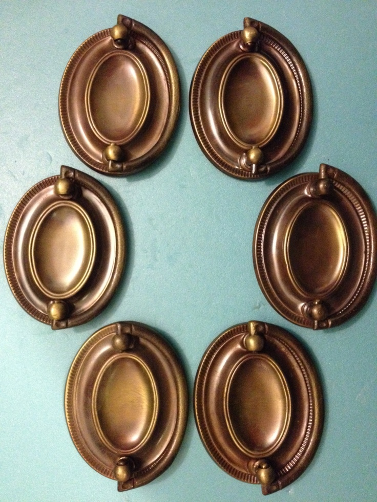 6 brass hepplewhite or sheraton oval drop handles repousse antique hardware