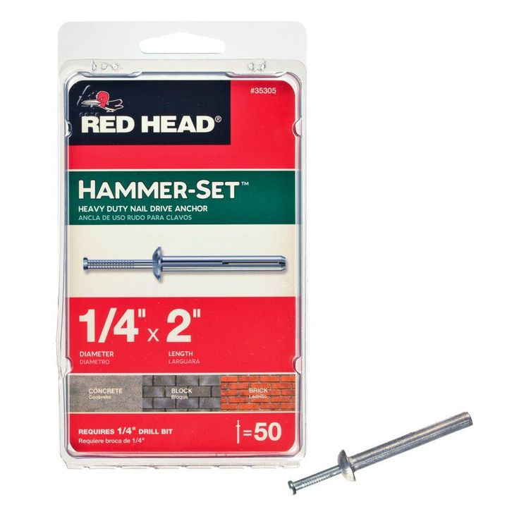 1/4 in. x 2 in. Hammer-Set Nail Drive Concrete Anchors (50-Pack)