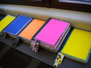 Cover the Reader's Notebooks with colored paper, glued in ribbon, then kids decorate, add label
