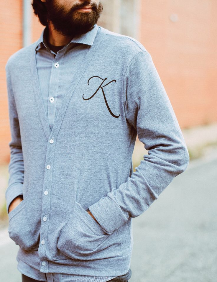 Monogrammed cardigan - boyfriend sweater - MENS/UNISEX XS-L - American Apparel heather gray jersey cardigans - for men or women by blackbirdtees on Etsy https://www.etsy.com/listing/105508858/monogrammed-cardigan-boyfriend-sweater