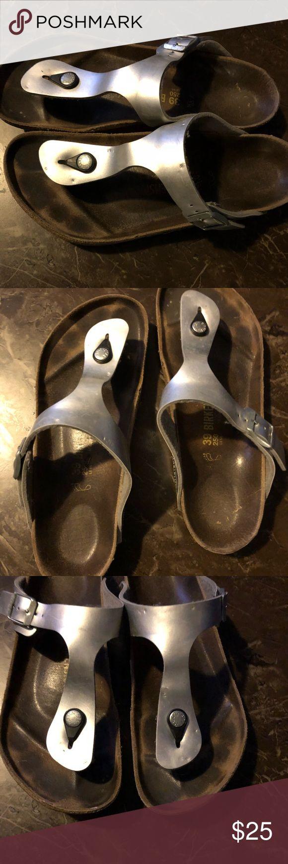 Birkenstock Gizeh Silver Sandals - Size 39. Birkenstock Gizeh Sandal. Size: 39. Birkenstock Shoes Sandals