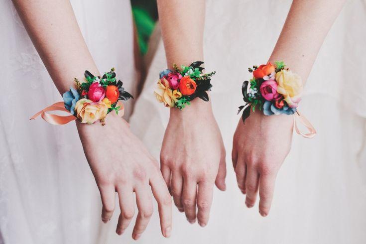 Bridesmaids flower bracelets See more here: https://www.etsy.com/listing/529762401/colorful-flower-bracelet-summer-wedding