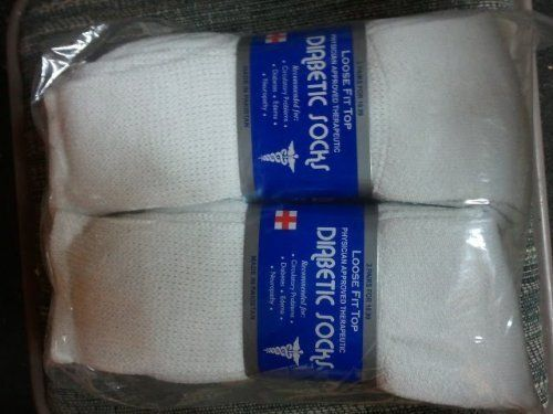 Diabetic Socks 1 Dozen Ultra Light Crew / white Sock size 10-13 by Diabetic Socks. $17.50. Diabetic Socks, Ultra Light is a perfect balanced Diabetic Sock of loose compression for better blood circulation, and just enough compression to stay up on your feet all day long. It's thick heel & sole give you the comfort you need, and it is thin enough to fit into your everyday, walking and jogging shoes.  Recommended for -Circulatory Problems -Diabetes -Edema -Neuropathy