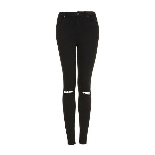 TopShop Petite Moto Black Ripped Jamie Jeans (£42) ❤ liked on Polyvore featuring jeans, pants, bottoms, calças, trousers, black, ripped jeans, petite jeans, high waisted distressed skinny jeans and high waisted ripped jeans