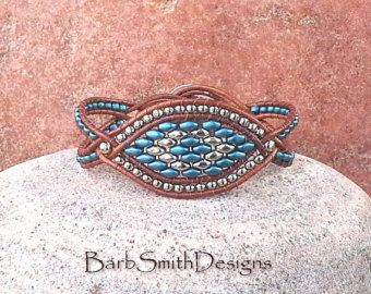 Blue Silver Beaded Leather Wrap Cuff Bracelet by BarbSmithDesigns