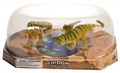 """Eco Dome T-Rex Family: Realistic 3 piece Dinosaur Figure Set by Wild Republic. $9.90. From the Eco-Dome Dinosaur Collection by Wild Republic. Packaging: Retail Display Dome. Set of 2 Adult and 1 Youth Dinosaurs. Eco Dome T-Rex Family. Size: Up to 4.5 inches long. Spark your imagination with this Wild Republic Family of T Rex Dinosaurs. Eco Dome Wildlife collection Recommended age 5+ Figures are approx 3.5"""" tall (varies)"""