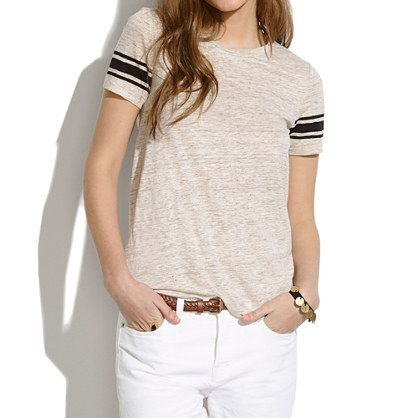 Madewell - Linen Half-Court Tee in Stripe.  Everything is a linen tee for this summer.