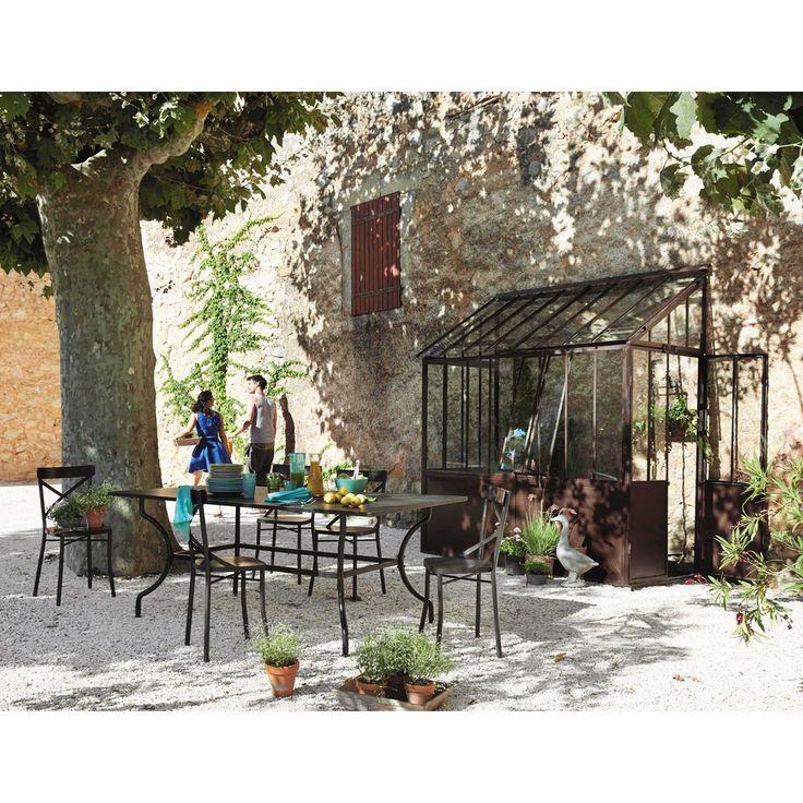 Table de jardin en fer forgé marron L 200 cm Alpilles | Maisons du Monde