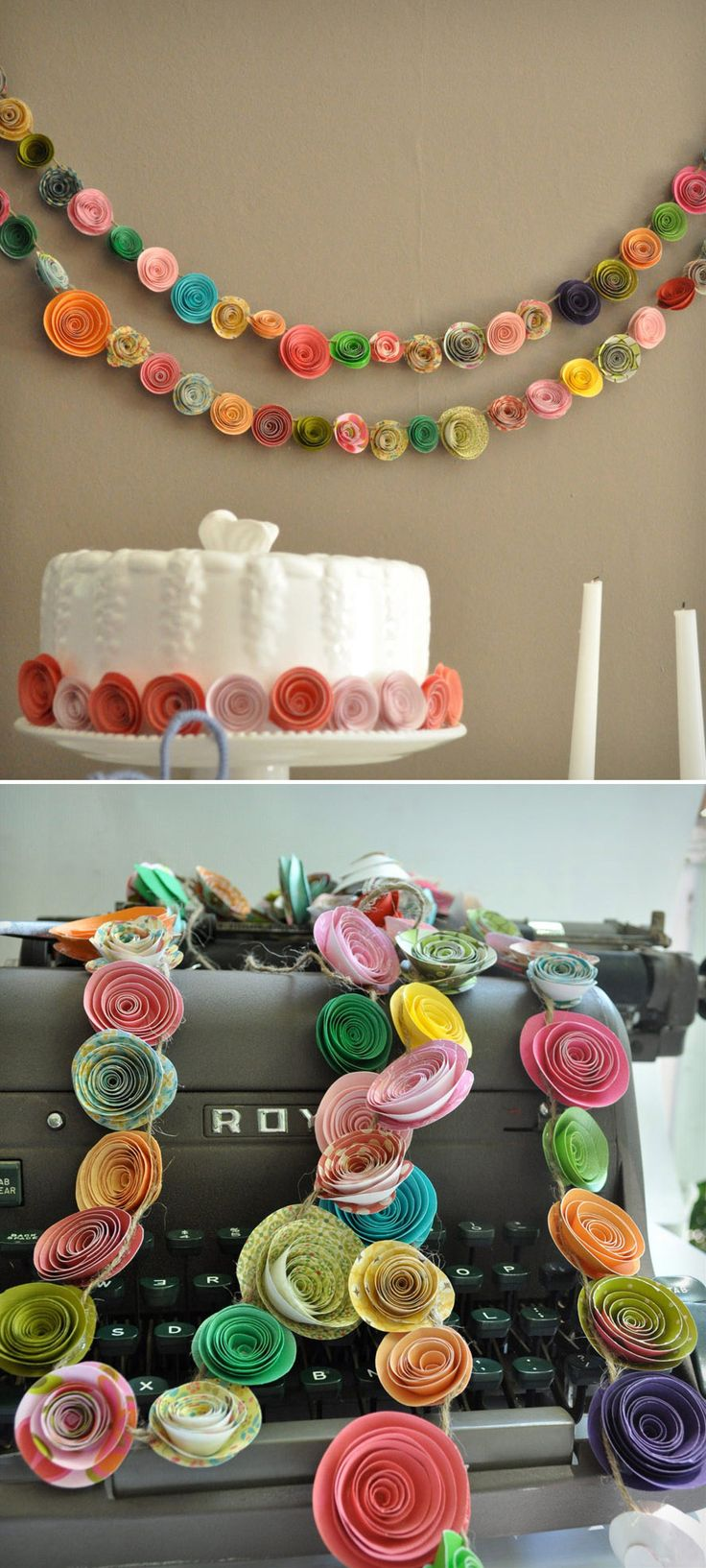 Colorful paper flower garland. How cute for a little girl's room!