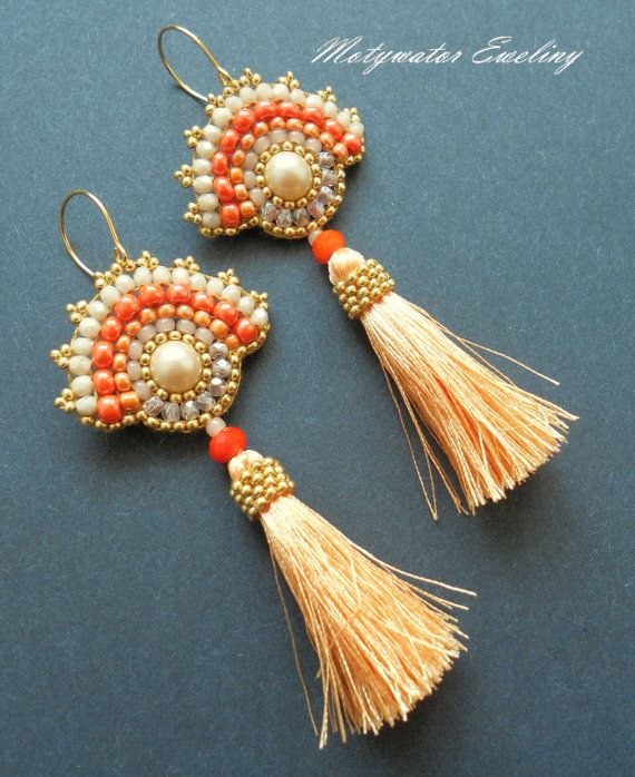 Sunny Apricot Earrings with Pearls and Tassels by MotywatorEweliny