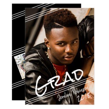 Diagonal Lines Script Handwriting 4-Photo Grad Card - graduation party invitations card cards cyo grad celebration
