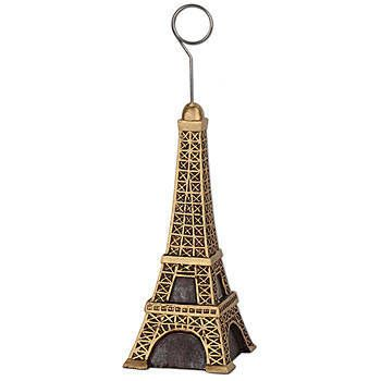 Our Eiffel Tower Photo Balloon Holders has the look of the Parisian landmark in gold and black.