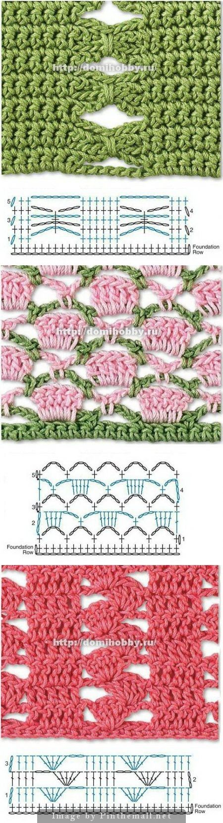 Beautiful Crochet Stitches - many more on this site - all with charts. Click on picture to check them out. #crochetstitch #crochet
