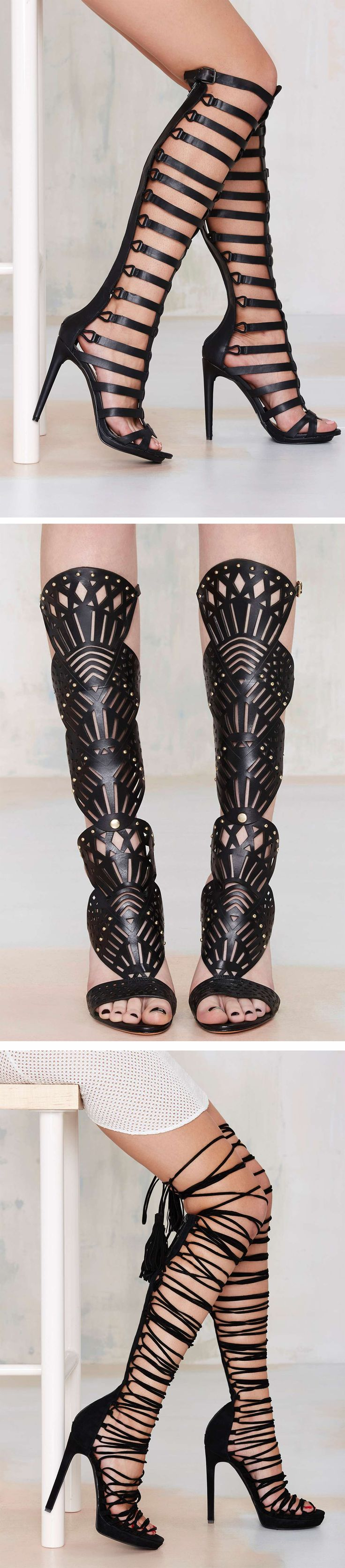 #omgshoes - Step your shoe game up in these awesome knee-high gladiator heels from Nasty Gal, Jeffrey Campbell, Schutz and more!