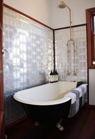 Pressed Tin Panel Bathroom Splash Back I love this look
