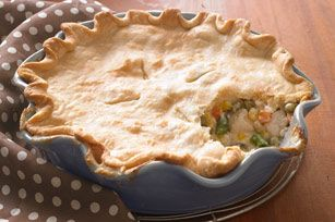 Deep-Dish Chicken Pot Pie - We've made over one of our favourite recipes by preparing it with Kraft Calorie-Wise Zesty Italian Dressing and Philadelphia Light Brick Cream Cheese Spread instead of the full-fat products. In addition, we also used just a single crust. These changes will save 180 calories and 13g of total fat, including 5g of saturated fat, per serving.