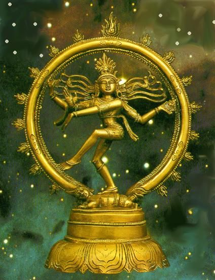 In his hands Shiva as Lord Nataraja holds a drum or dhamru that makes the final sound of death as well as the primeval vibrations of life.  In his left hand Nataraja holds Agni, a fire that burns and destroys yet also illuminates and energizes.  Around him is a fiery prahabhamandala, which is the great wheel of samsara filled with the infinite cycle of births and rebirths..