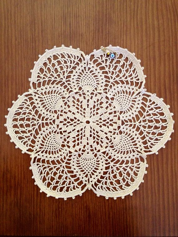 """Hand Crocheted Doily, 9"""",col. Beige on Etsy, $11.00"""