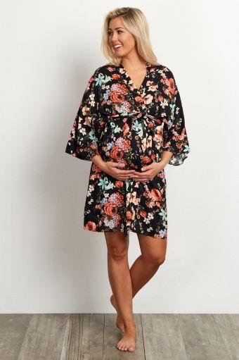 Black Floral Delivery/Nursing Maternity Robe