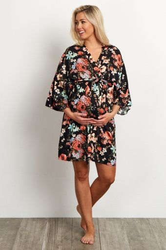 Black Floral Delivery/Nursing Maternity Robe
