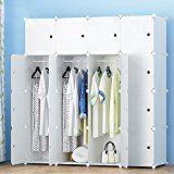 ETTBJA DIY Portable Wardrobe Modular Clothes Storage Organizer Multi-Purpose Storage Unit With Stickers(16 Cubes 3 Hanger Sections)