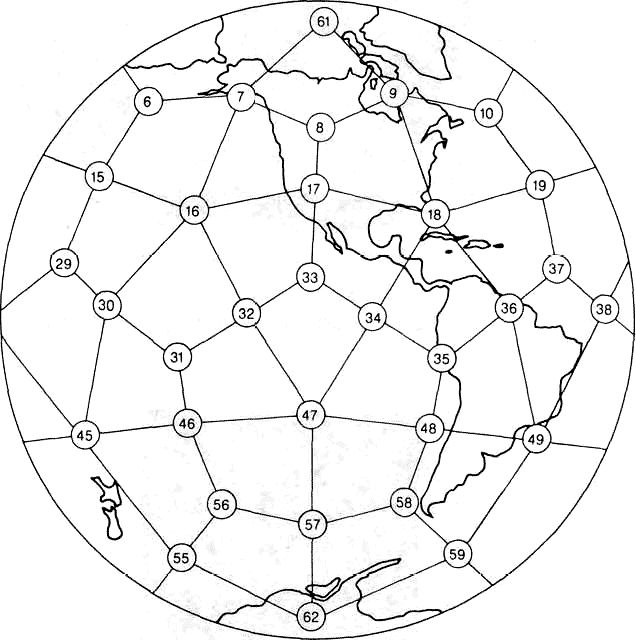 Earth divided using spherical geometry.. Some points correlate with sites of Megalithic Structures