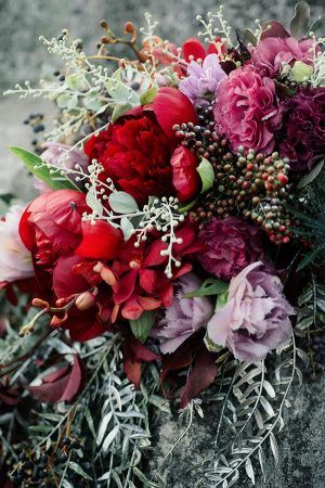 French Country Banquet Wedding Inspiration | Ruffled - red peony cascade bouquet by Green Goddess flower studio