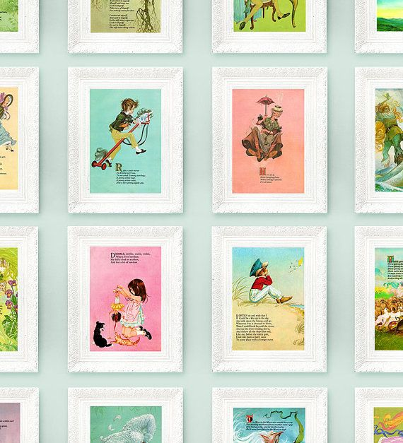 Vintage Nursery Rhyme Prints Collection is nursery. vintage+awesome colors!
