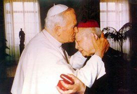 Ignatius Cardinal Kung (1901-2000)--  here with Pope John Paul II; Cardinal Kung suffered great persecution for the underground (true) Catholic Church in china, being incarcerated for his faith for over 30 years.    http://www.seattlecatholic.com/images/articles/PopeAndKung.jpg