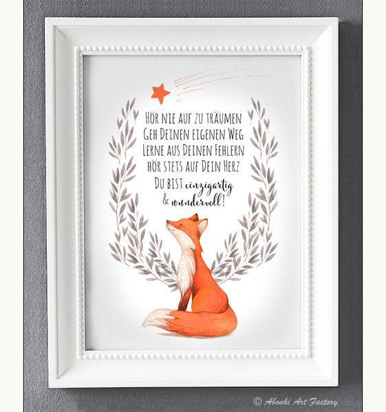 Digitaldruck – Kunstdruck A4 Du bist wundervoll FUCHS – ein Designerstück von A…