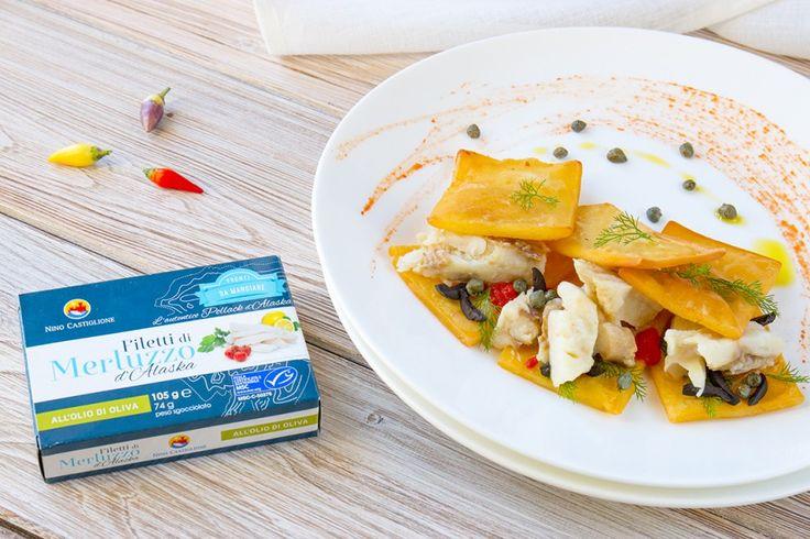 Panelle, merluzzo e salsa mediterranea