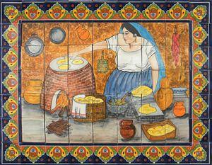 A #RusticaHouse #tilemural Looks Pretty On A #kitchen Wall #backsplash, #