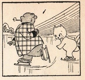 1942 a daily strip in the newspaper, look at his jacket... the stripes... later on that will change