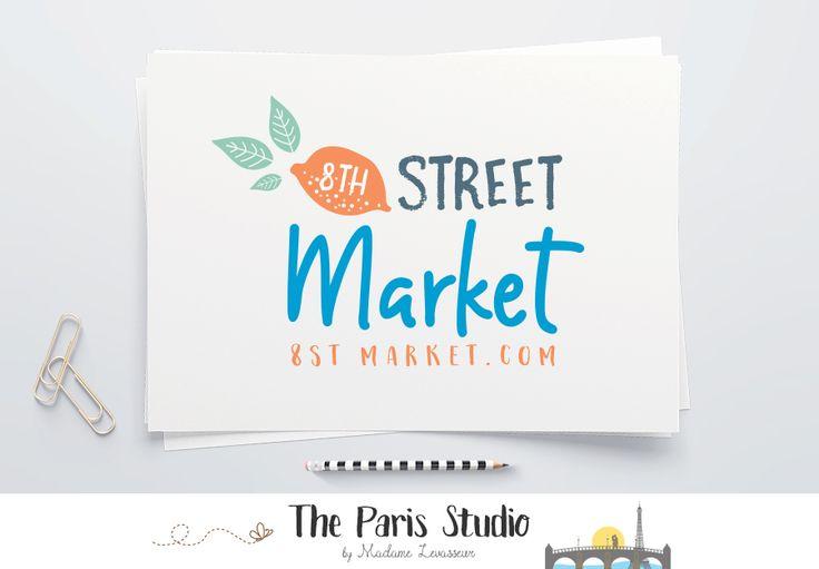 Hand Drawn Style Food Market Logo Design - food market branding, website logo,blog logo, boutique logo, creative business branding or small business logo.