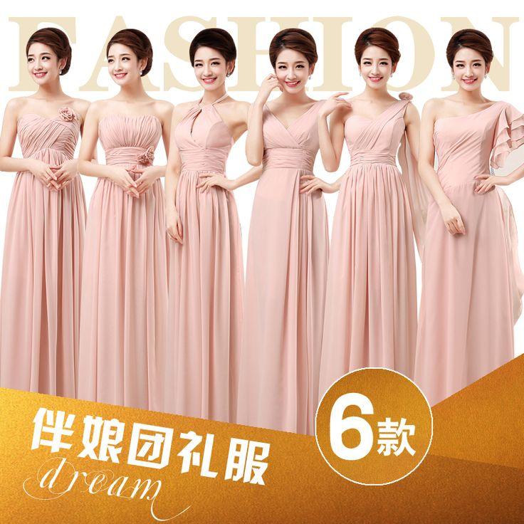 Pas cher Fleurs  parole longueur plis appliques conception six robes de demoiselles d'honneur champagne rose beige, Acheter  Robes de demoiselles d'honneur de qualité directement des fournisseurs de Chine:  Style A / B / C / D / F : la dentelle de près à l'arrière .     Style de E : Zipper près la taille !           Il pour