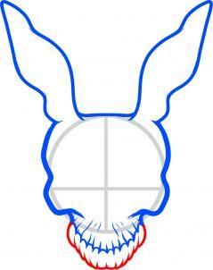 how to draw frank the rabbit, donnie darko step 4