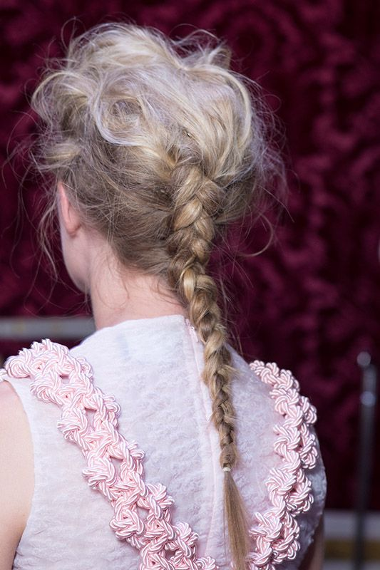 SS16 Simone Rocha cute braid champagne pink and white shirt