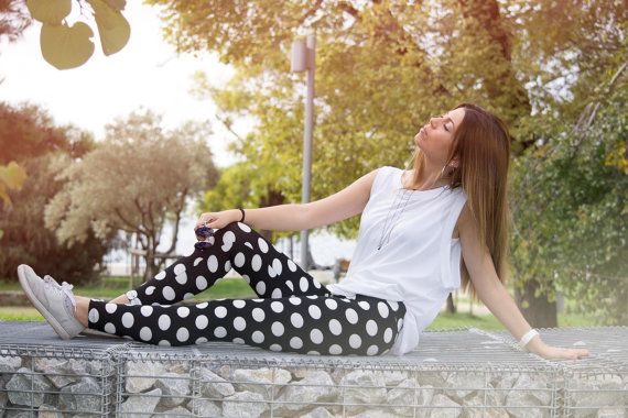 Handmade Polka Dot Black White Leggings Athletic by CocoBaLeggings