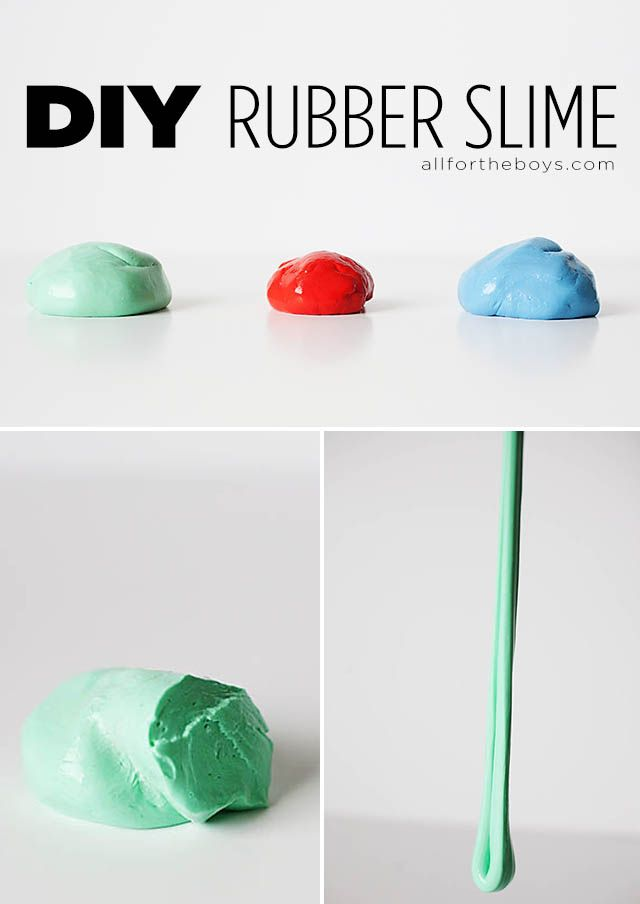 Kid Inspiration - All for the Boys - DIY RubberSlime. It's rubbery, stretchy, slimy (but not sticky), a bit bouncy and you can make it at home!