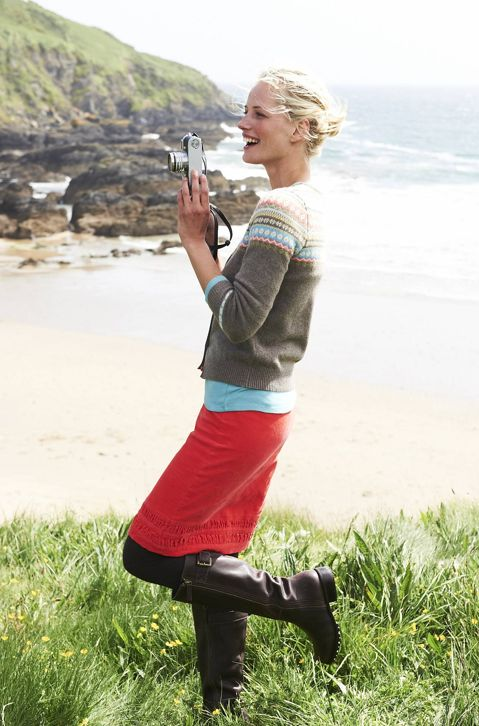 love the coral skirt.Isle Cardigans, Style, Clothing, Fairisle, Black Boots, Pencil Skirts, Fair Isles, Red Skirts, Isle Sweaters