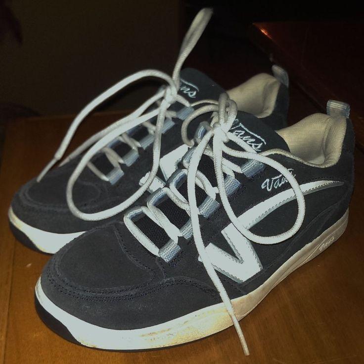 Vans Ladies Leather Suede Sneakers Size 6 Hera 49916-76 Navy Blue White Skate #Vans #SkateShoes