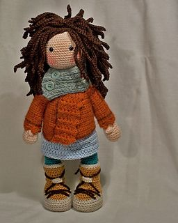 This listing is for an extensive PDF file which contains full instructions for crocheting and finishing off the doll MONJA.