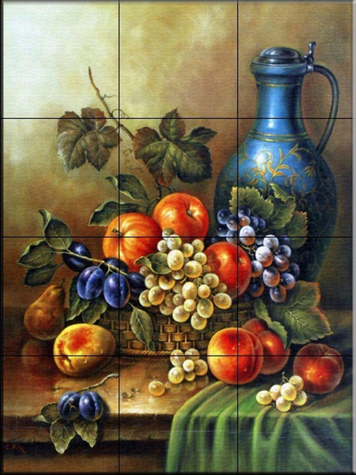 Ceramic Tile Mural - Antique Still Life III - by Corrado Pila - Kitchen backsplash / Bathroom shower