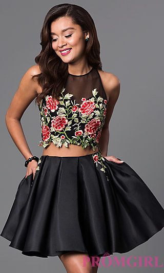 How could you say no to a two piece dress with POCKETS?! Short two piece lace embellished homecoming dress with pockets guaranteed to have all eyes on you.